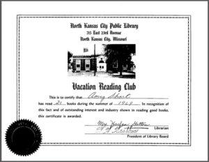 Amy Short's summer reading program certificate.